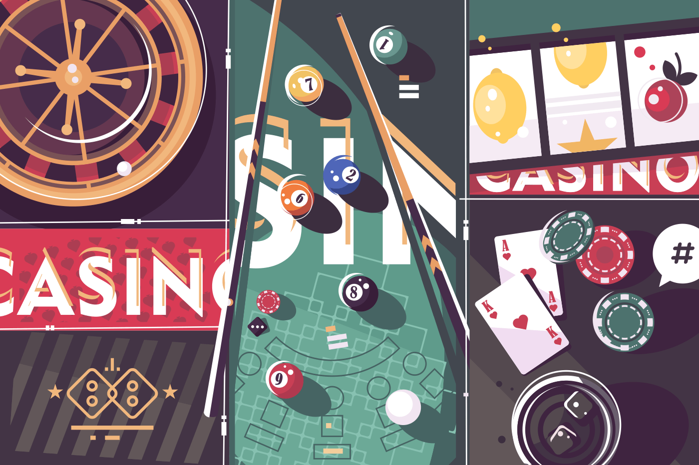 Gambling game casino abstract background. Roulette and billiard, poker and slot machine. Vector illustration