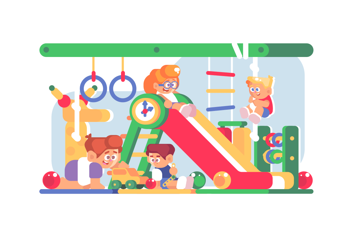 Gaming room interior composition with happy children. Cheerful smiling kids having fun at playroom of entertainment center vector illustration. Boys and girls sliding down and playing with toys
