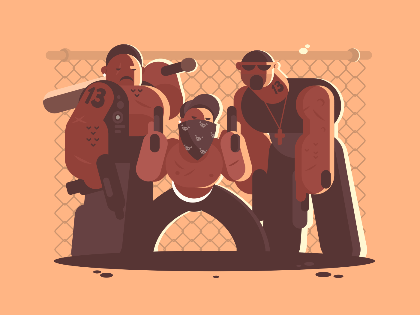 Criminal gang of men with weapons and bat. Vector illustration