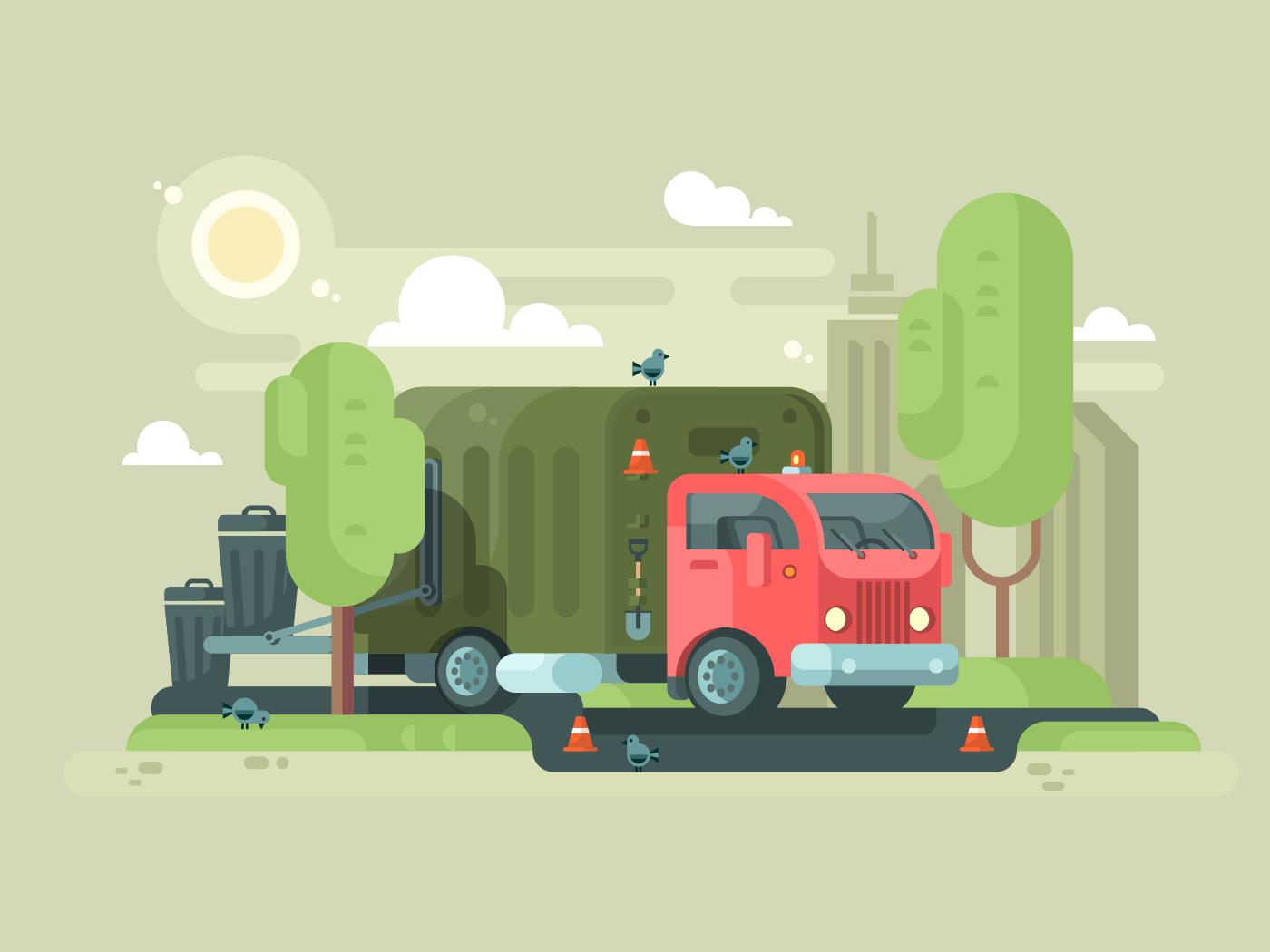 Machine picks up trash flat vector illustration