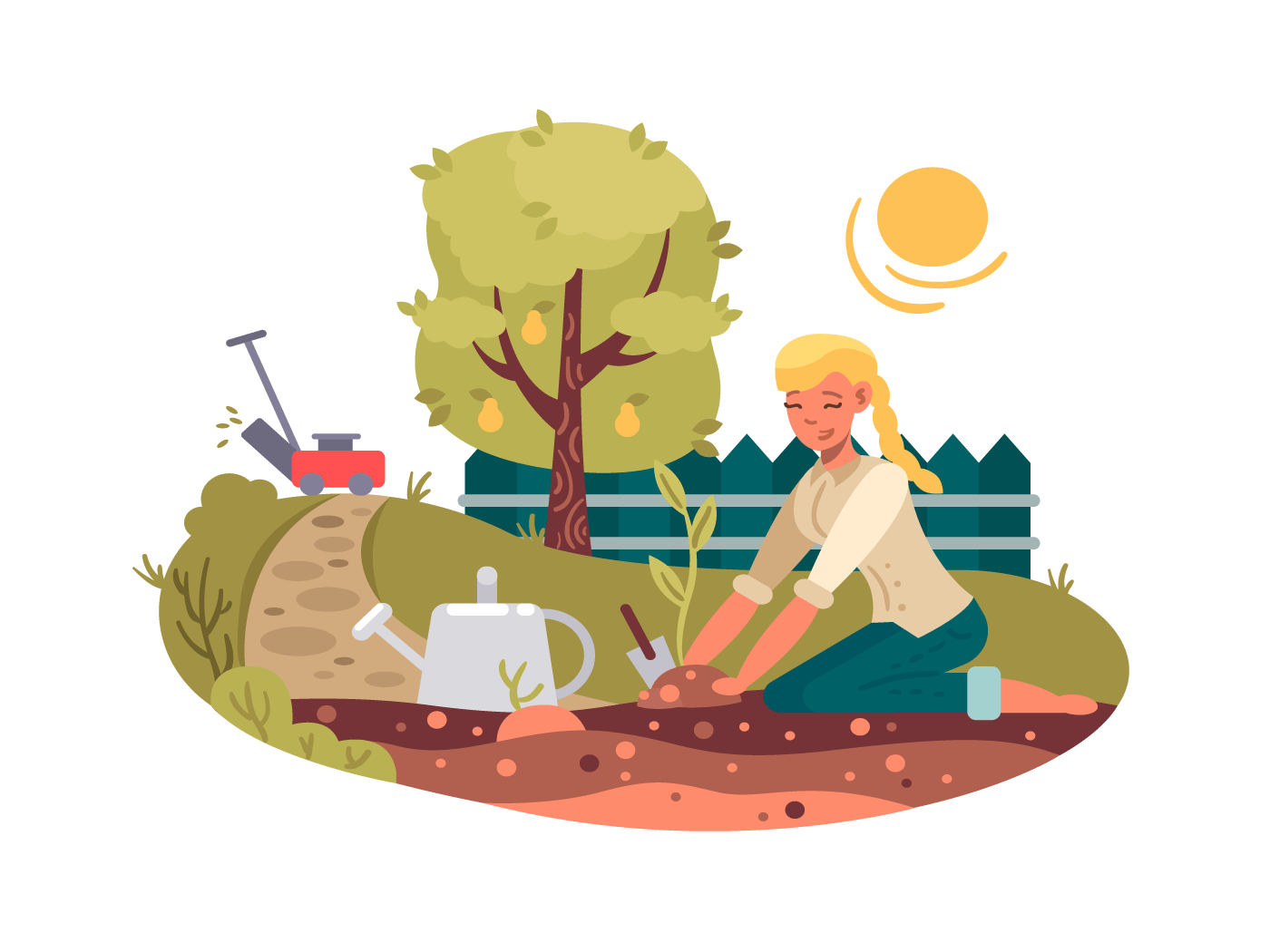 Young girl planting seedling illustration