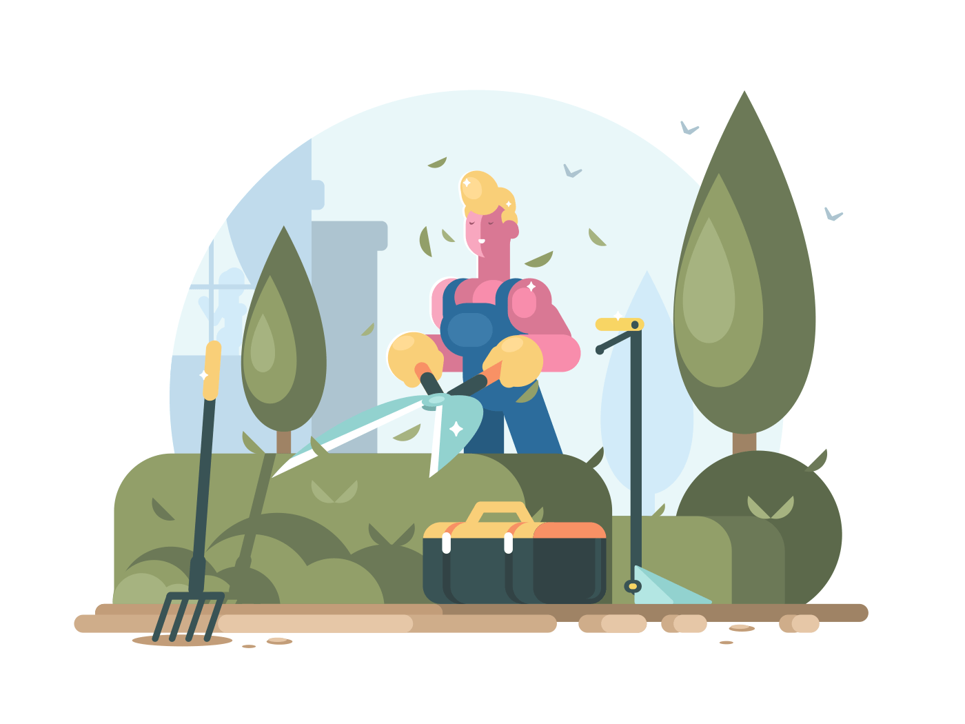 Man gardener cuts green bush with big scissors. Vector illustration