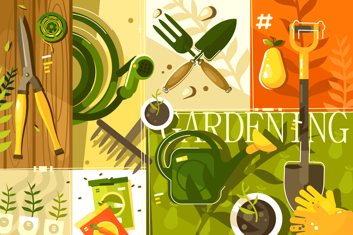 Gardening abstract background. Tools for garden, shovel and secateurs, vector illustration
