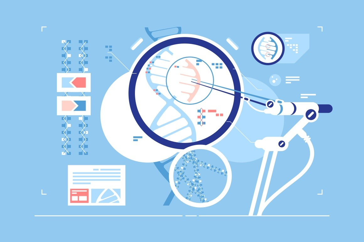 Gene correction scientific possibility vector illustration. High technology laboratory providing world with biological researches improving life flat style design. DNA correction concept