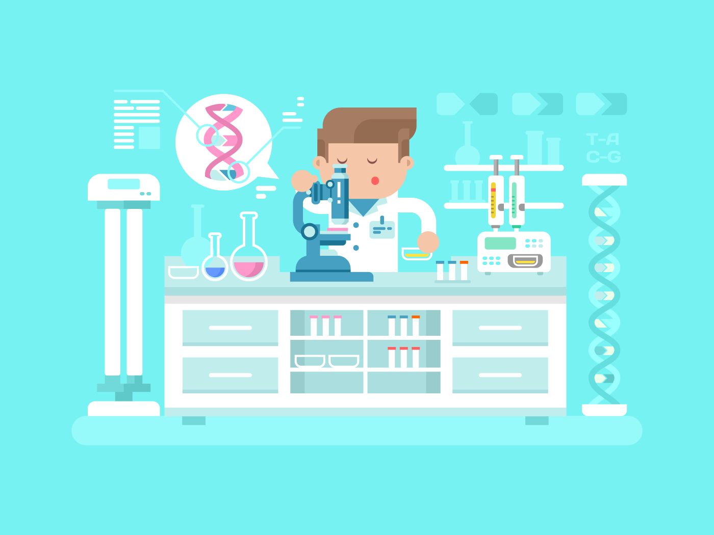 Genetics doctor man flat vector illustration