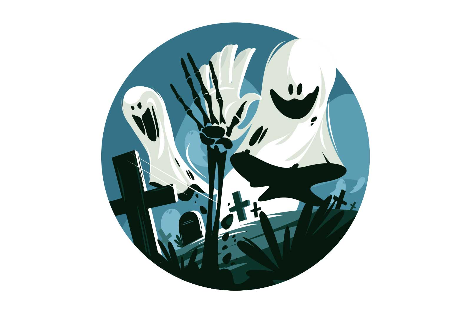 Scary white ghost vector illustration. Circle with screaming festive character flat style. Crosses on cemetery and hand of skeleton. Happy halloween concept. Isolated on white background