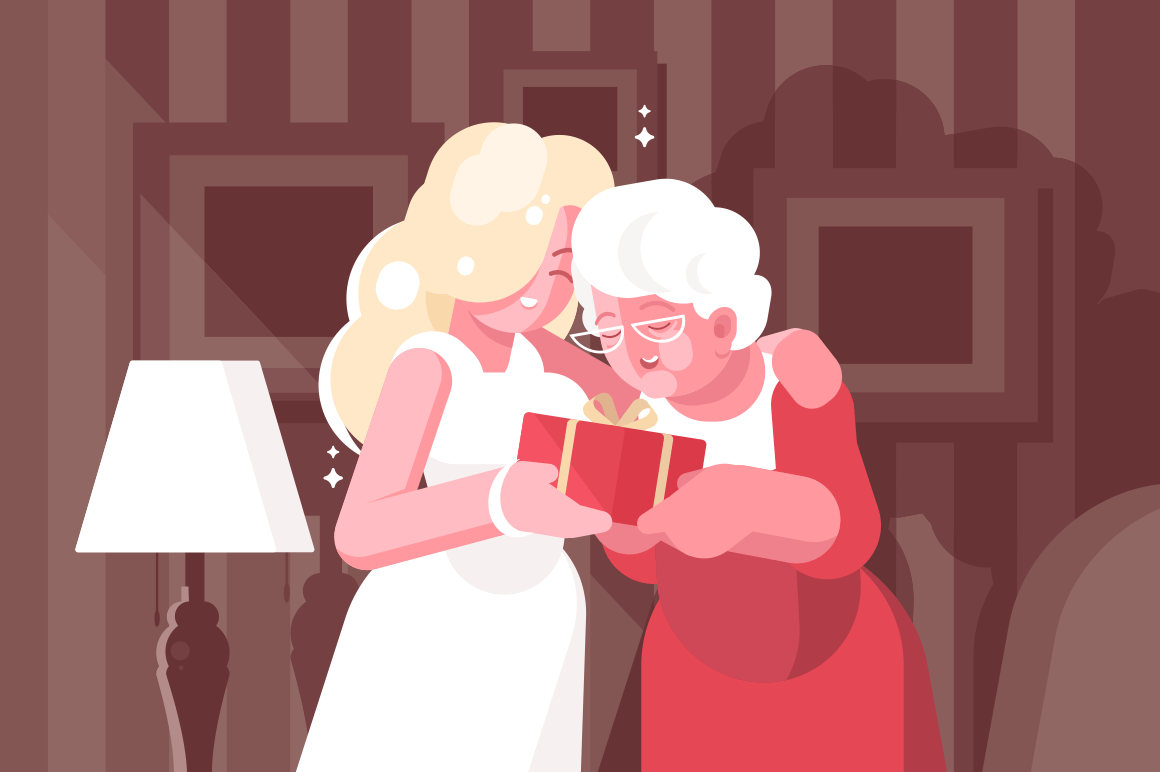 Blonde woman giving present to her middle-aged mother. Warm picture of family together flat style vector illustration. Parents day and affection concept. Living room on background