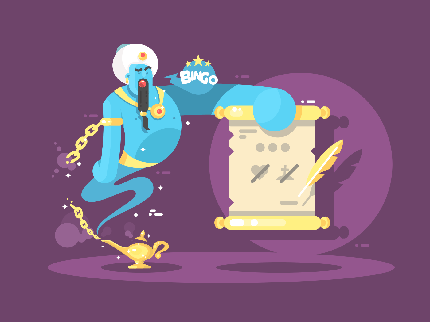 Genie from lamp character flat vector illustration