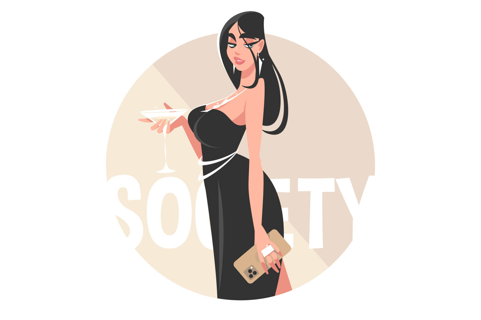 Girl in evening dress vector illustration. Stylish woman wearing black dress holding alcoholic drink flat style. Party and fun event concept. Isolated on white background
