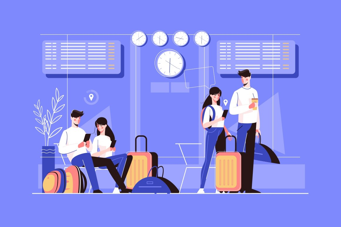 Girl and boy in airport lounge vector illustration. Tourists characters in different poses. People sitting, waiting flight with luggage and going to board airplane flat style design