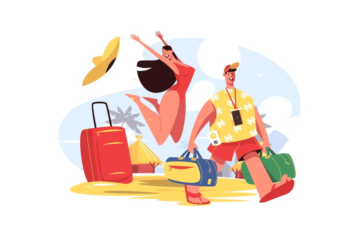 Man and woman on beach vector illustration. Happy female jumping for joy and smiling guy carrying luggage flat style design. Golden sand, palm trees and blue sky on background. Travelling concept