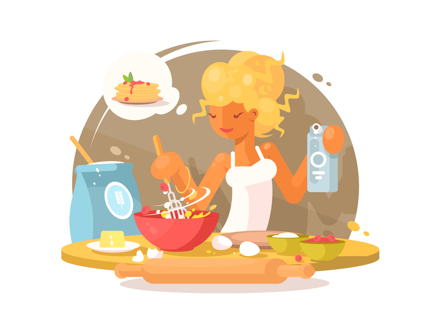 Young blonde woman prepares meal illustration