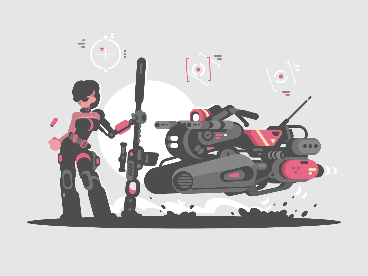 Military girl with sniper rifle and newest flying scooter. Vector illustration