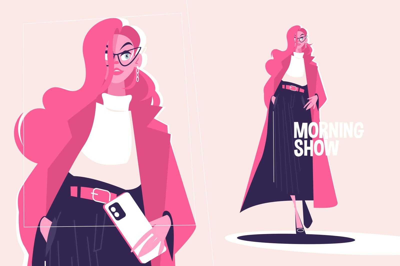 Girl fashionably dressed vector illustration. Stylish woman walking on runway flat style. Model with smartphone. Morning show and fashion industry concept. Isolated on pink background