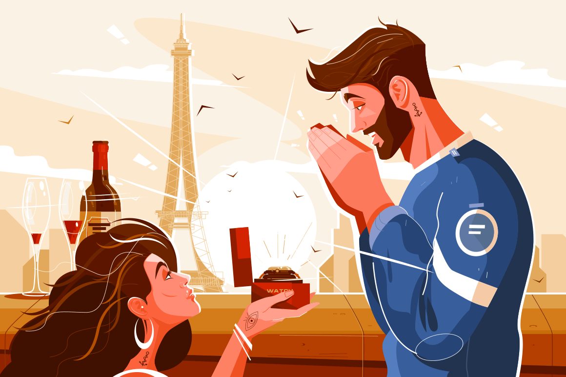 Romantic scene of lovers vector illustration. Pretty girl giving expensive wristwatch to man flat style concept. City landscape with famous paris landmark on background