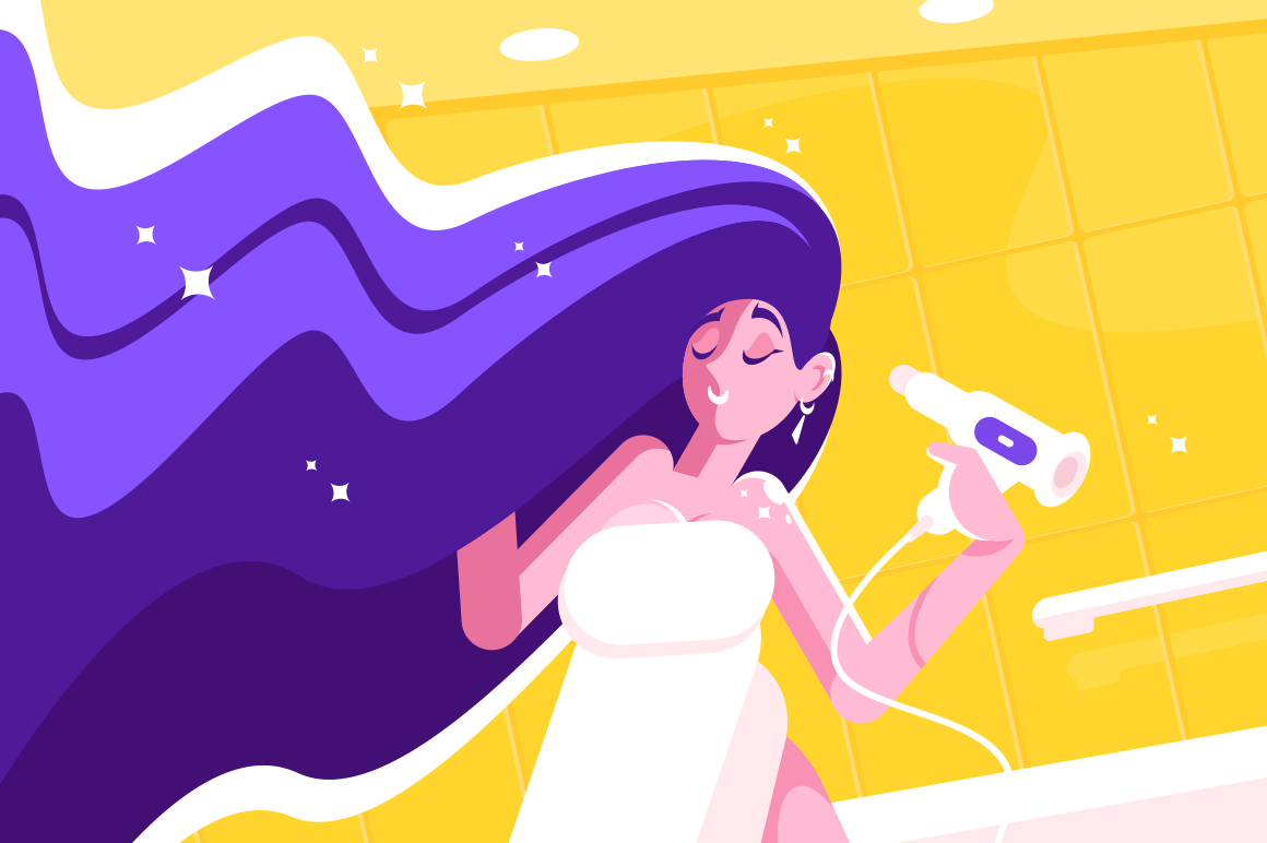 Girl with amazing long hair blowing dry. Young woman with beautiful hairstyle drying locks in bathroom with hairdrier vector illustration flat style concept