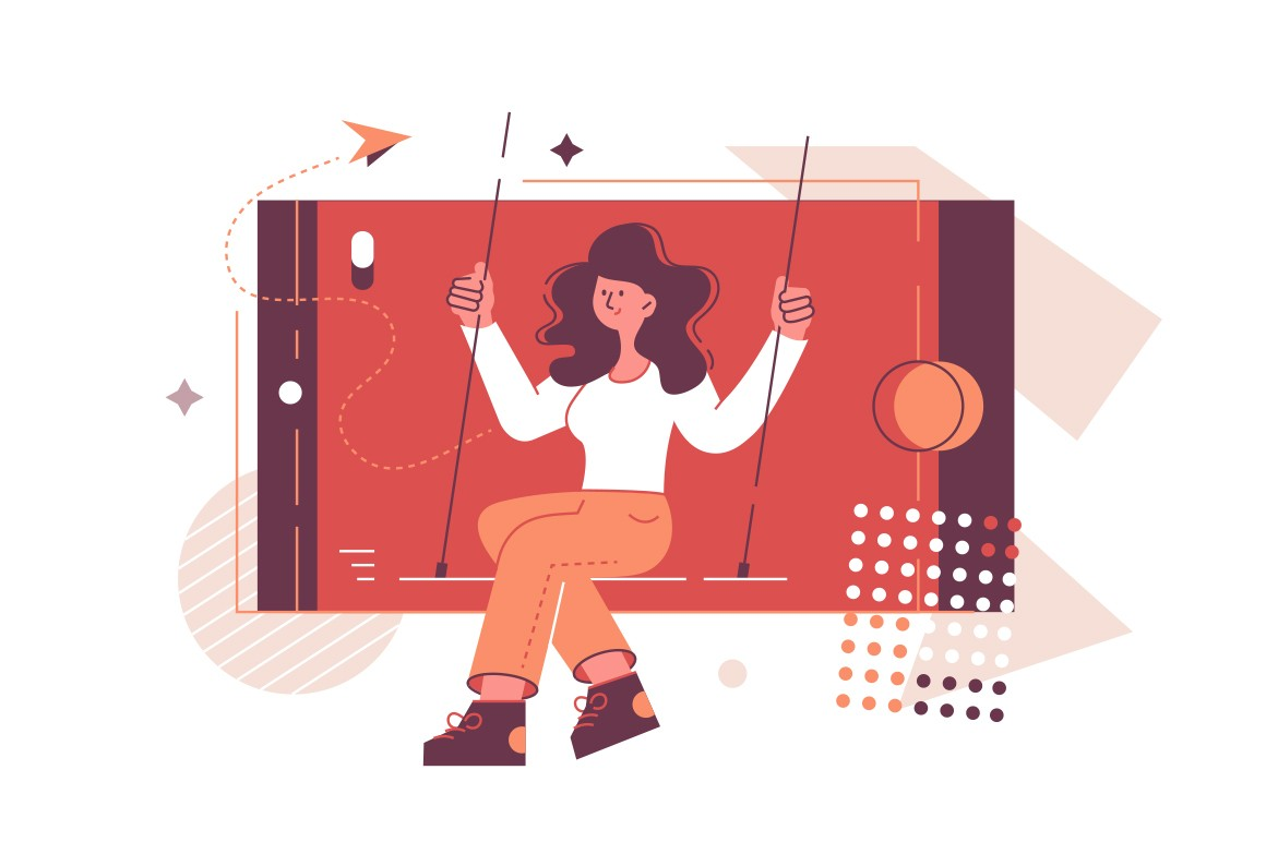 Smiling girl in phone vector illustration. Happy young woman riding on swing in smartphone flat style design. Social network, virtual communication and entertainment concept