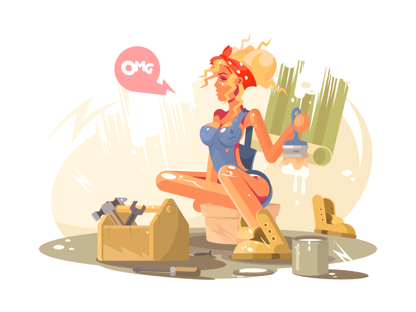 Sexy girl painter illustration