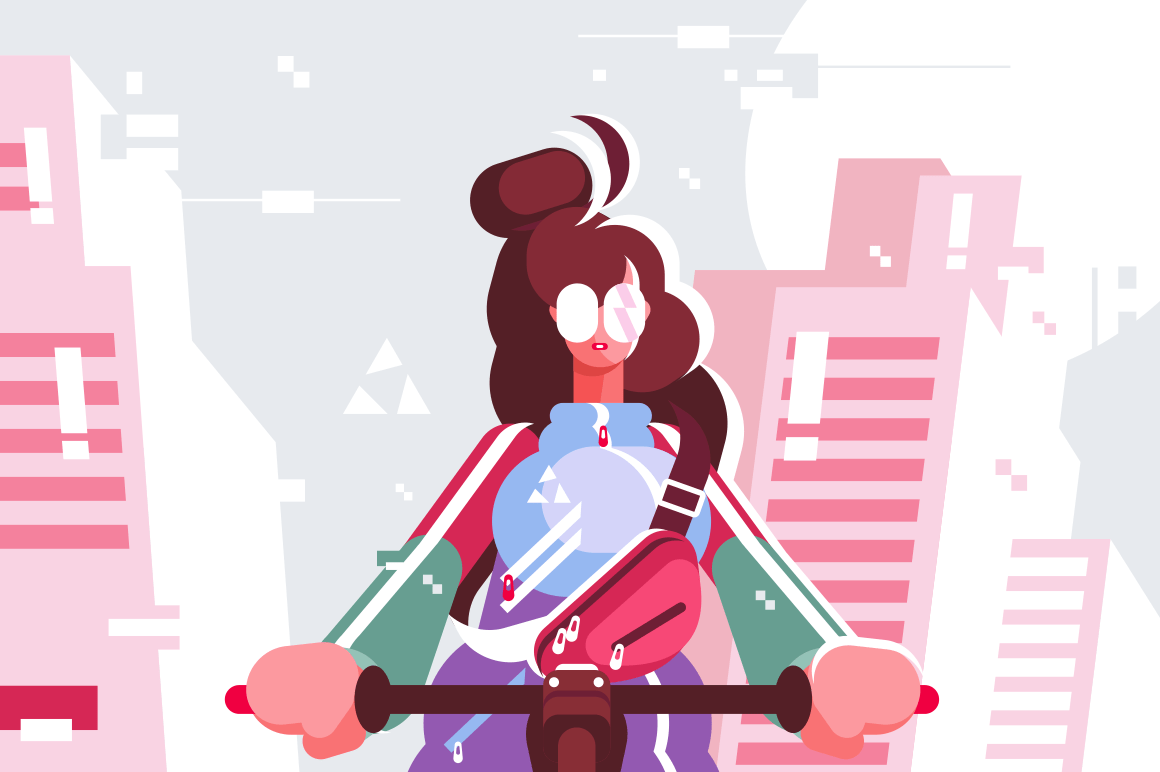 Cool character design of adult young woman riding bicycle. Brunette girl moving down the street flat style vector illustration. Walk concept. City buildings on background
