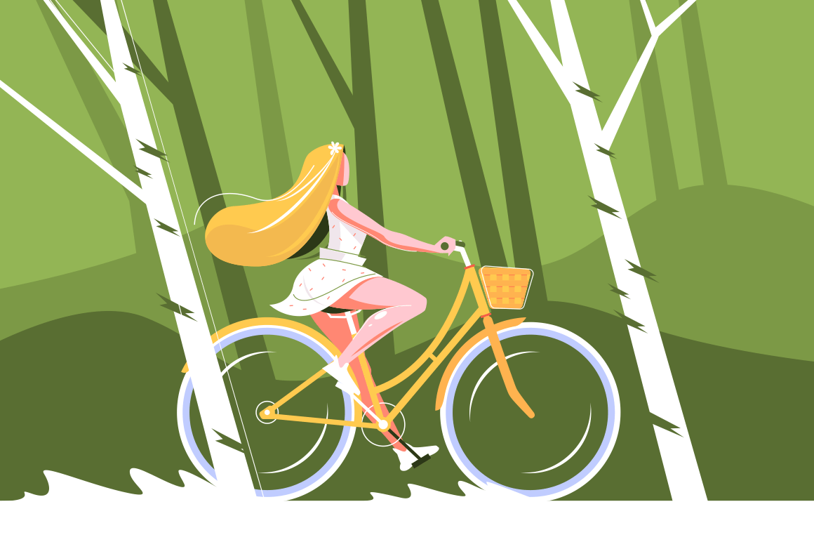 Cute girl on bike vector illustration. Pretty young woman riding in park flat style concept. Female with nice long hair wearing beautiful summer dress bicycling