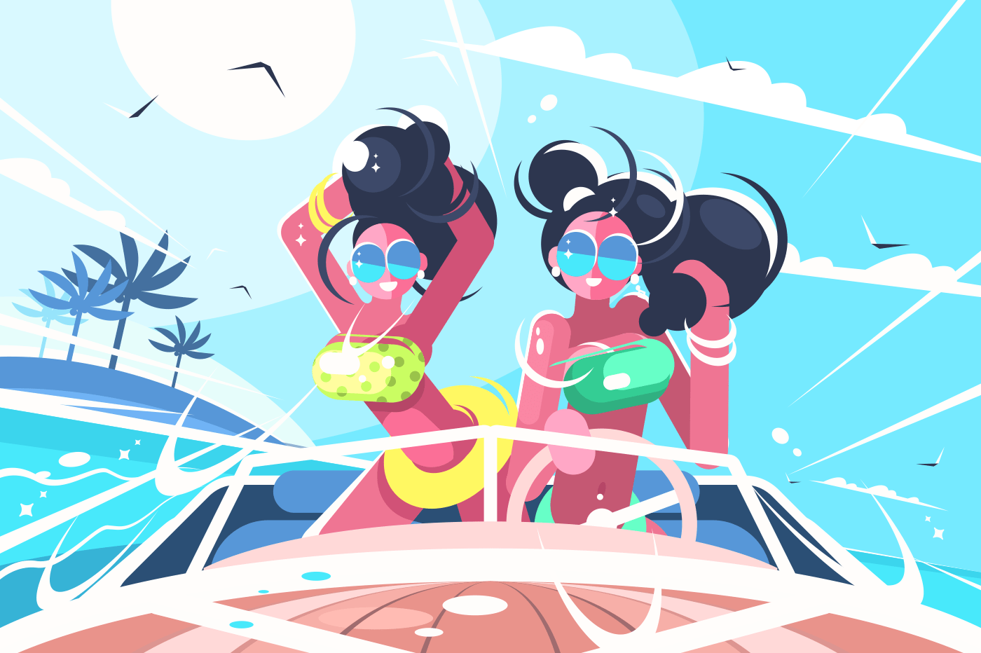 Girls in bathing suits riding speedboat in sea. Vector illustration