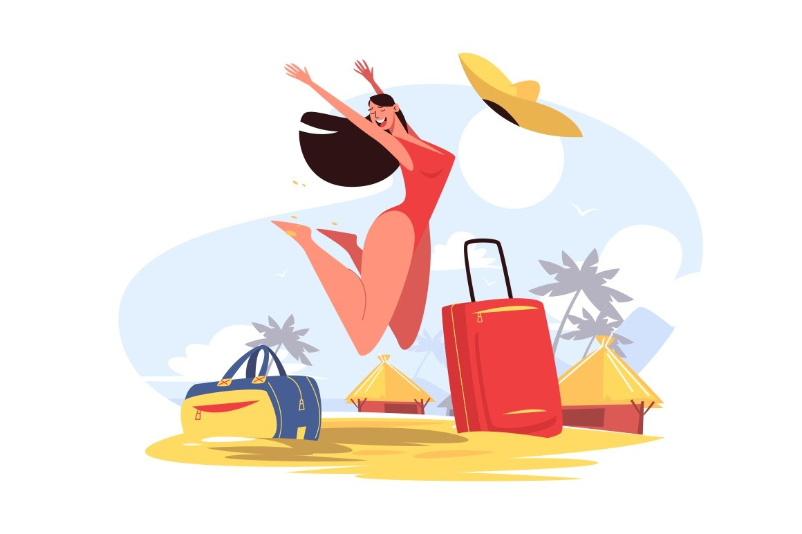 Happy smiling girl on beach vector illustration. Cheerful woman in red swimsuit jumping for joy. Golden sand, palm trees and blue sky on background. Travelling concept