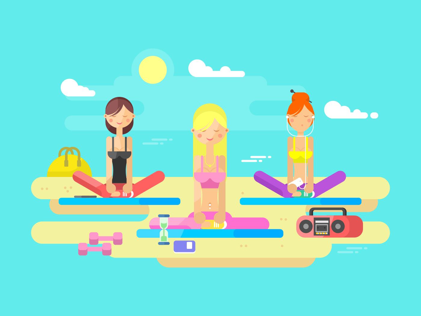 Girls practicing yoga flat vector illustration