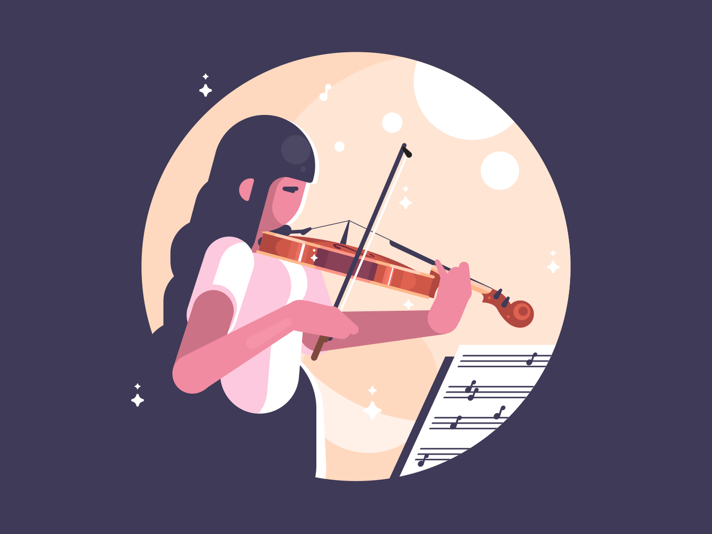 Girl playing violin. Learn to play musical instrument. Vector illustration
