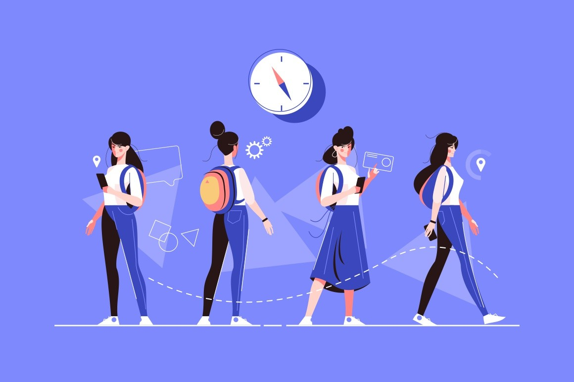 Girl characters poses vector illustration. Woman in casual clothes in various postures flat style concept. Female searching location with smartphone, standing with backpack and going