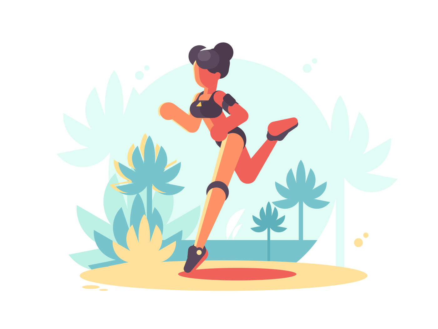 Young attractive girl running. Fitness and sport. Vector flat illustration