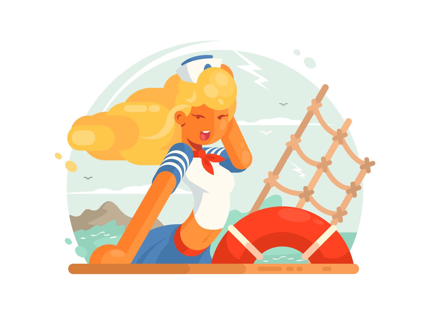 Beautiful girl sailor illustration
