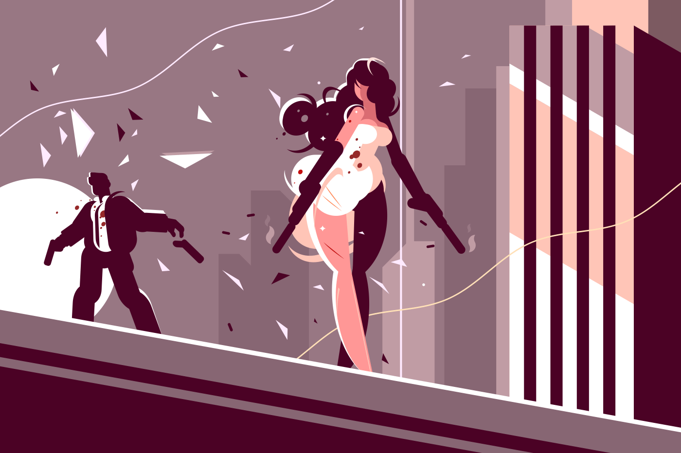 Attractive girl spy with gun shoots at enemy. Vector illustration