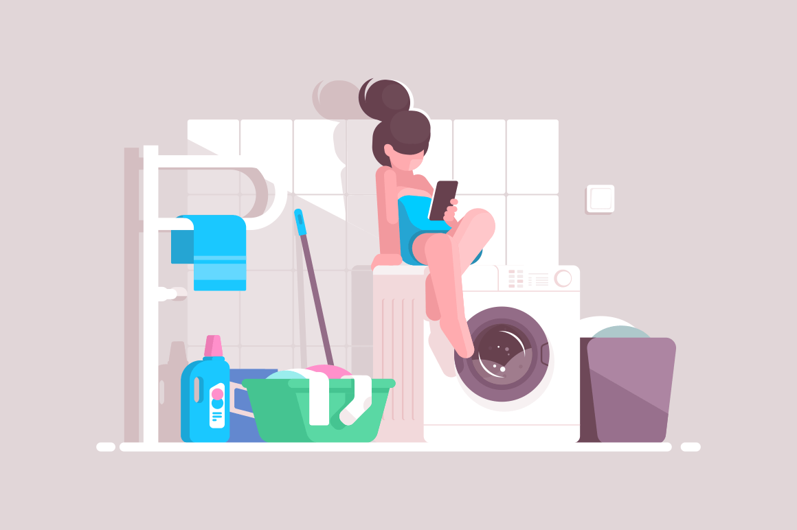 Girl using smartphone in bathroom vector illustration. Cartoon young woman sitting on washing machine and surfing internet with mobile phone. Lavatory room interior