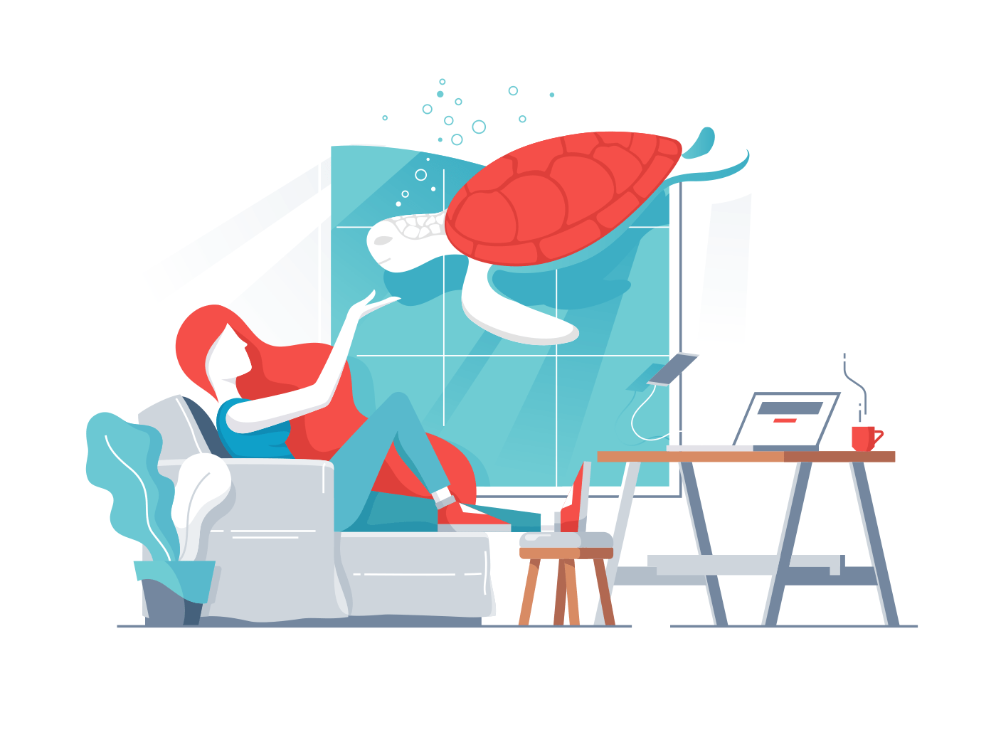 Young girl in office with turtle in aquarium, Vector illustration