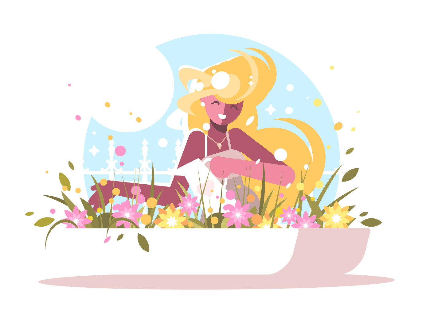 Cute blonde watering home flowers. Blooming spring plants. Vector illustration