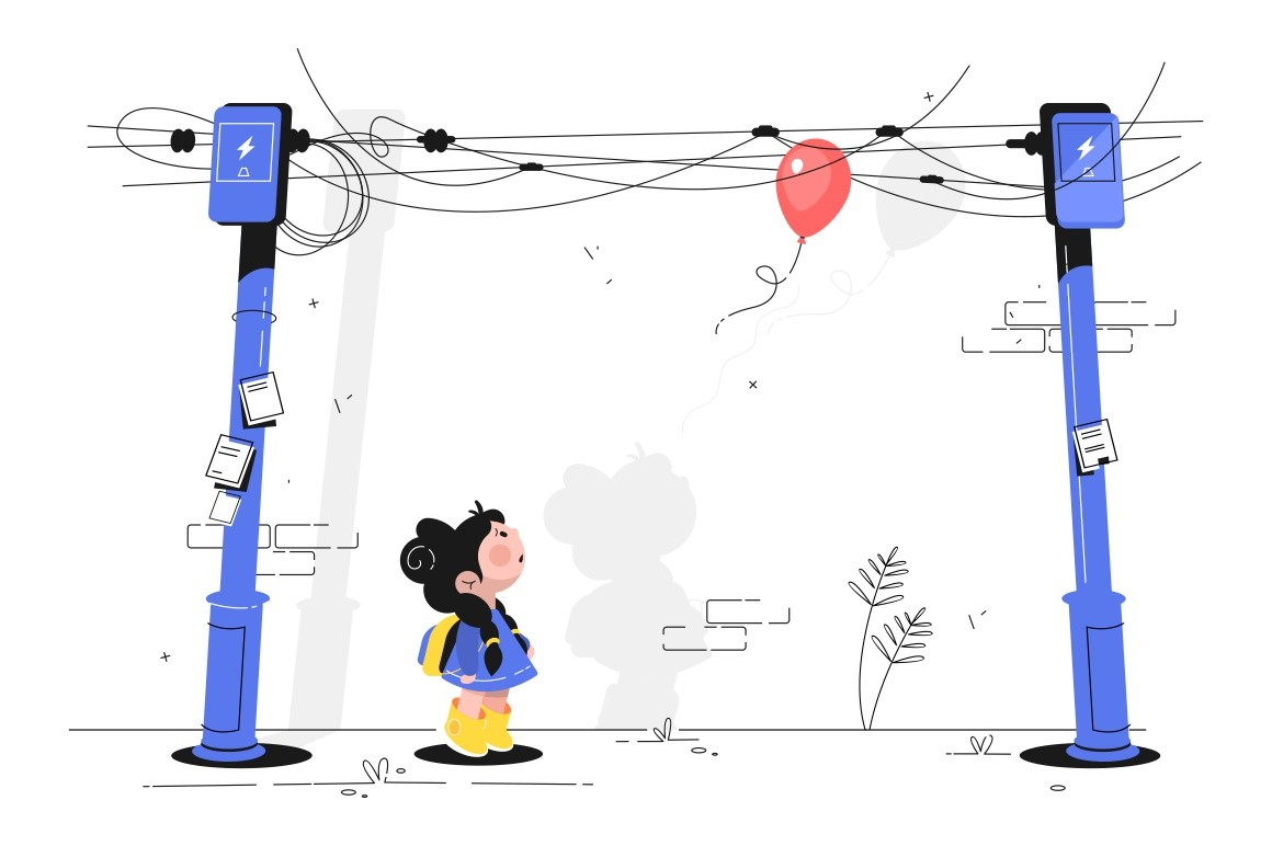 Little girl with balloon vector illustration. Cute child with schoolbag looking up with interest at air-balloon getting stuck in wires flat style concept