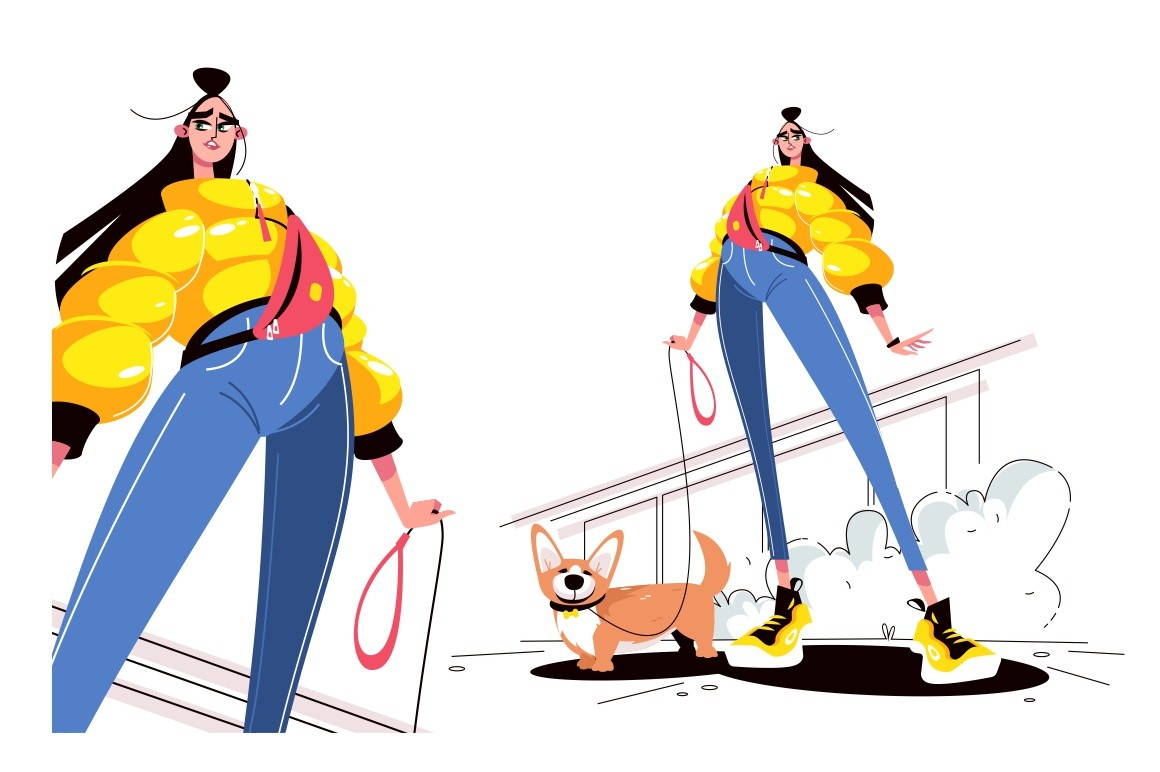 Girl walking dog vector illustration. Young stylish woman in casual clothes standing with puppy dog on leash outdoors flat style design isolated on white