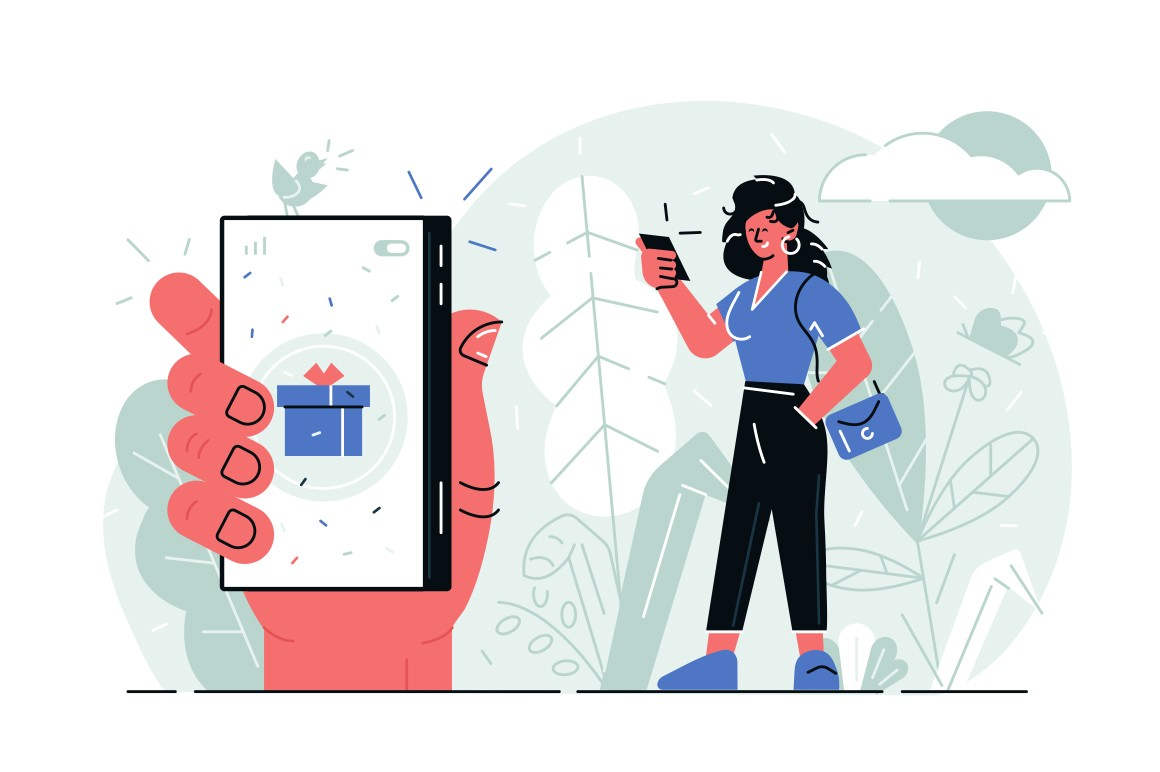 Girl with modern smartphone vector illustration. Woman in casual clothes looking at cellphone screen and smiling. Female hand holding phone with gift box icon on display flat style concept