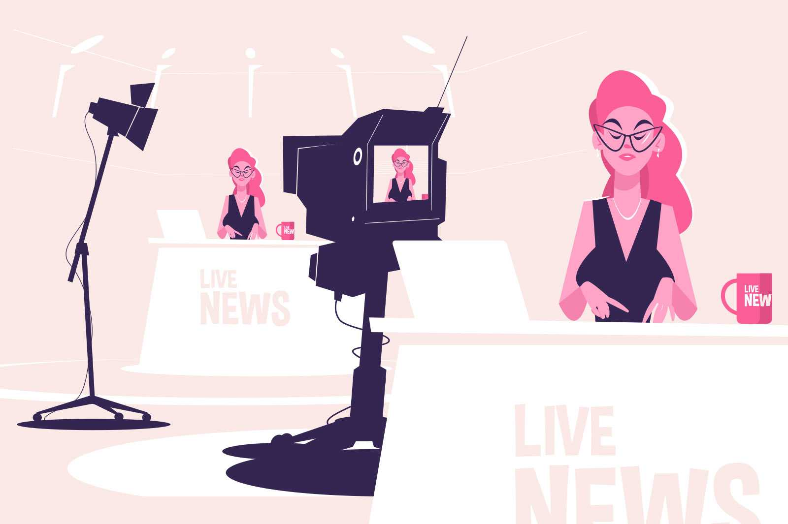 Business girl at workplace vector illustration. Woman work as tv presenter flat style. Film industry and television programme, live news concept. Isolated on pink background