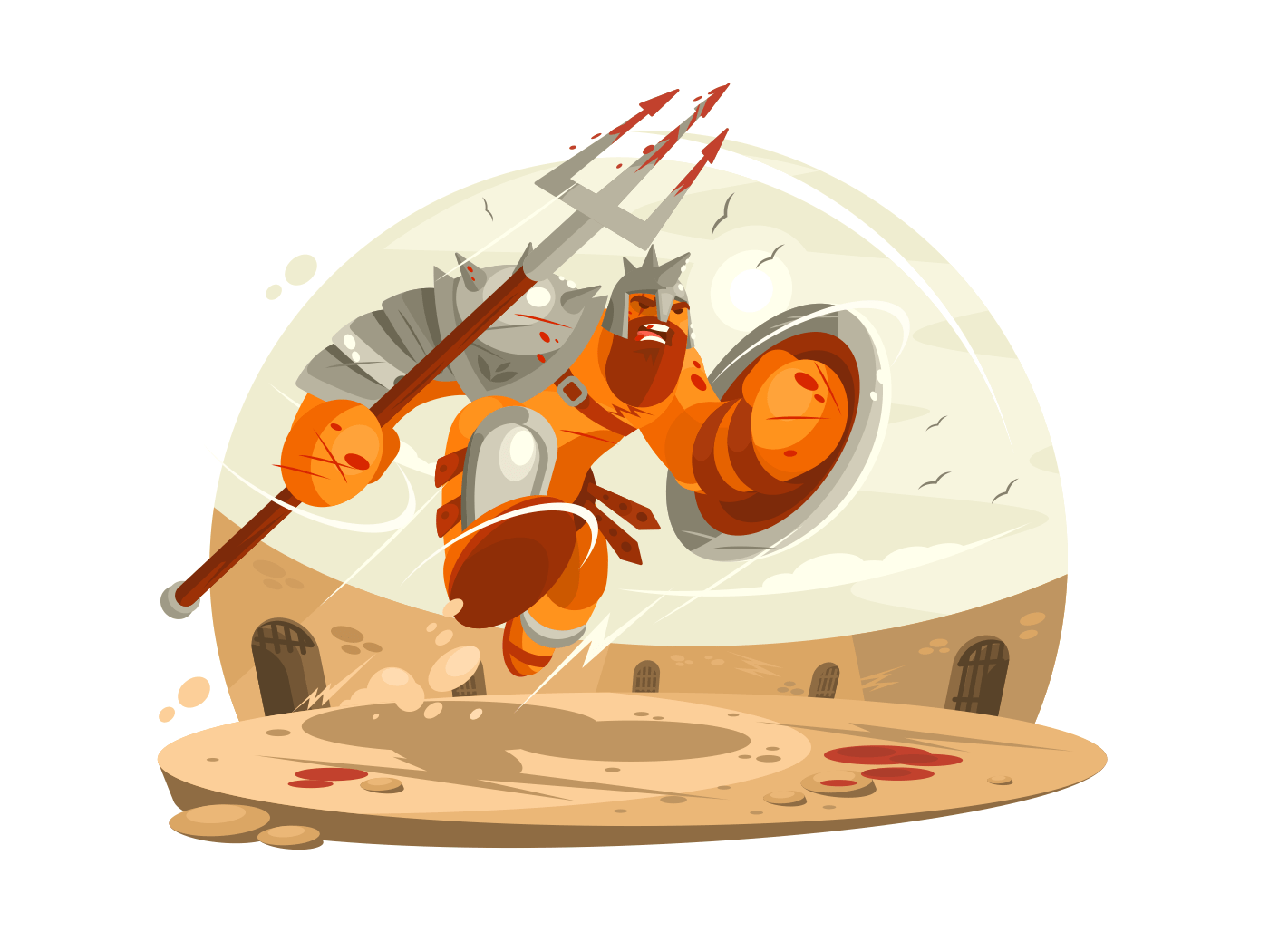 Gladiator in armor with shield illustration