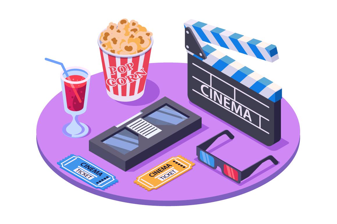 3d isometric equipment with ticket, pop corn, stereo glasses, soda, cassette.