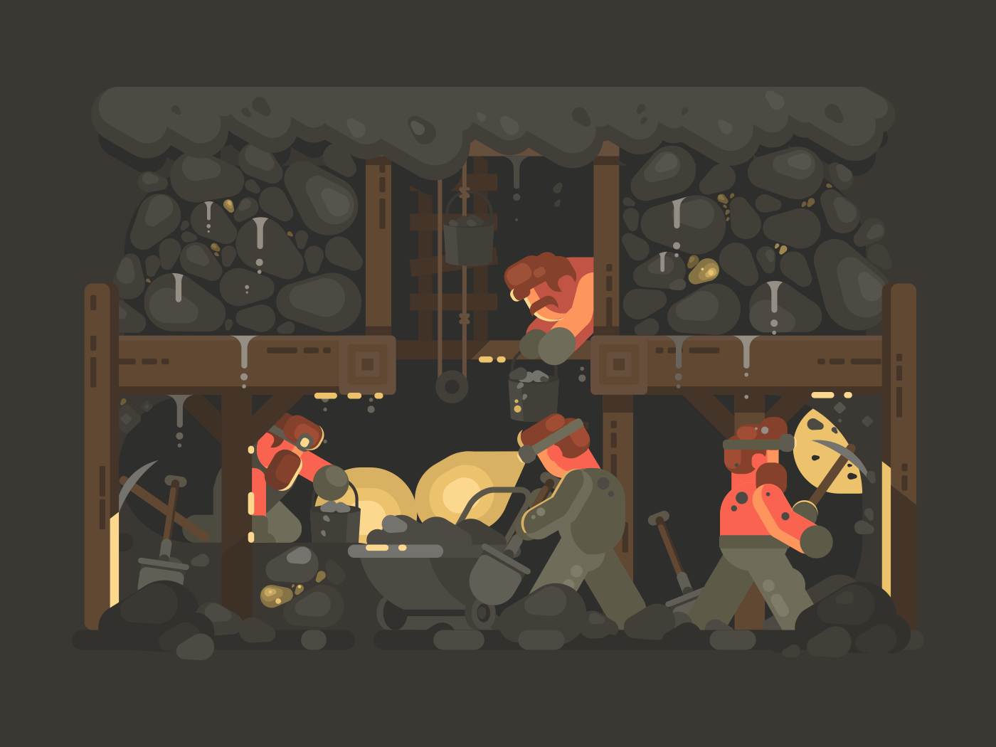 Mine for gold mining. Miners underground mined minerals. Vector illustration