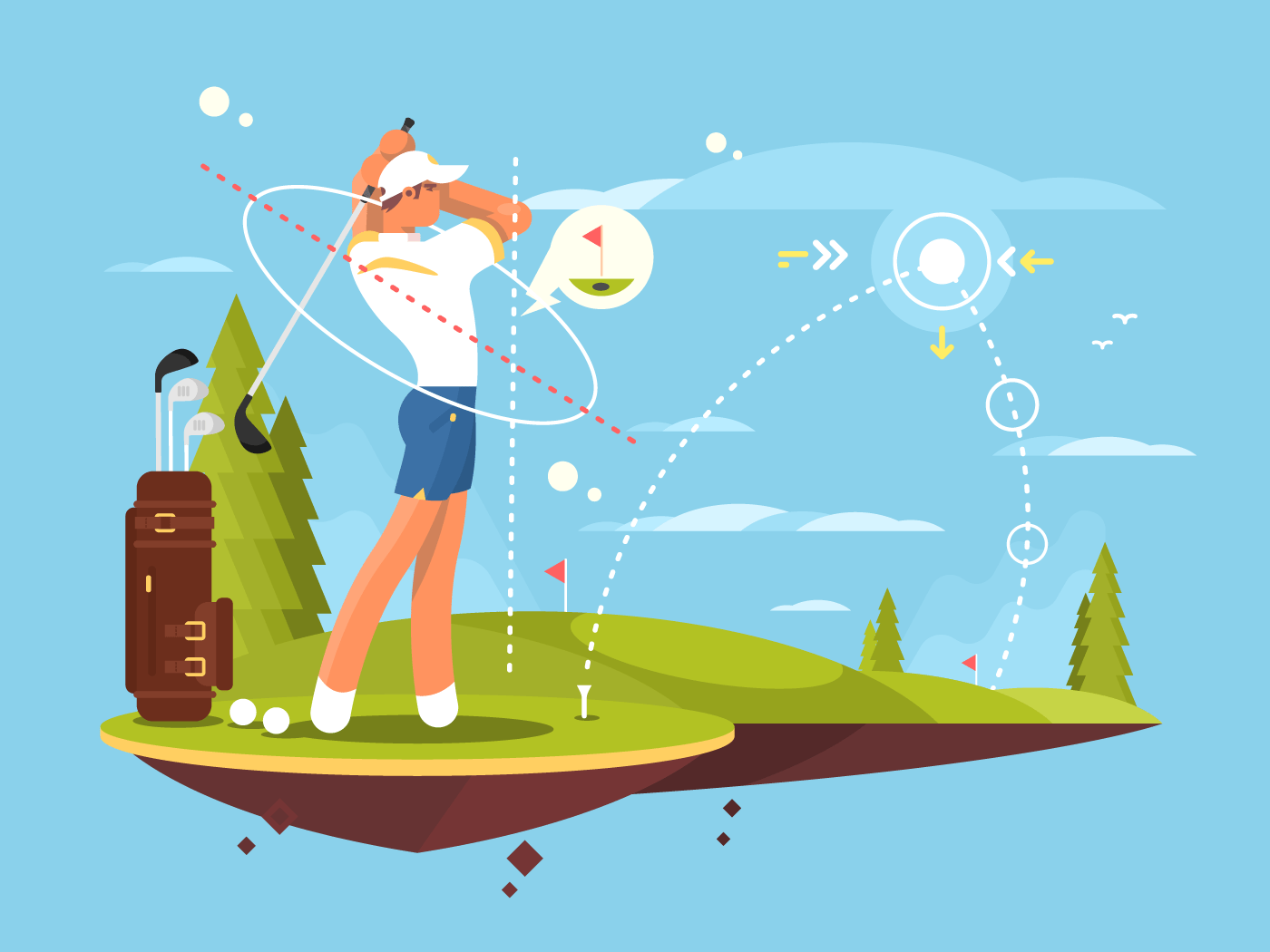 Male golfer playing golf flat vector illustration
