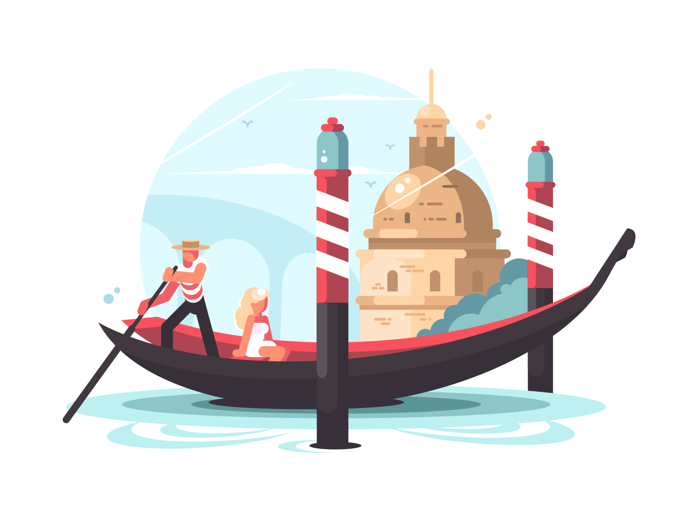 Gondolier transports woman in gondola on water channel. Vector illustration