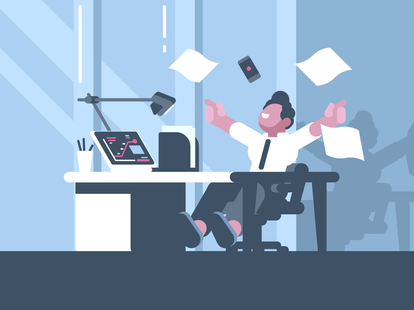 Happy businessman about successful business deal in office. Vector illustration