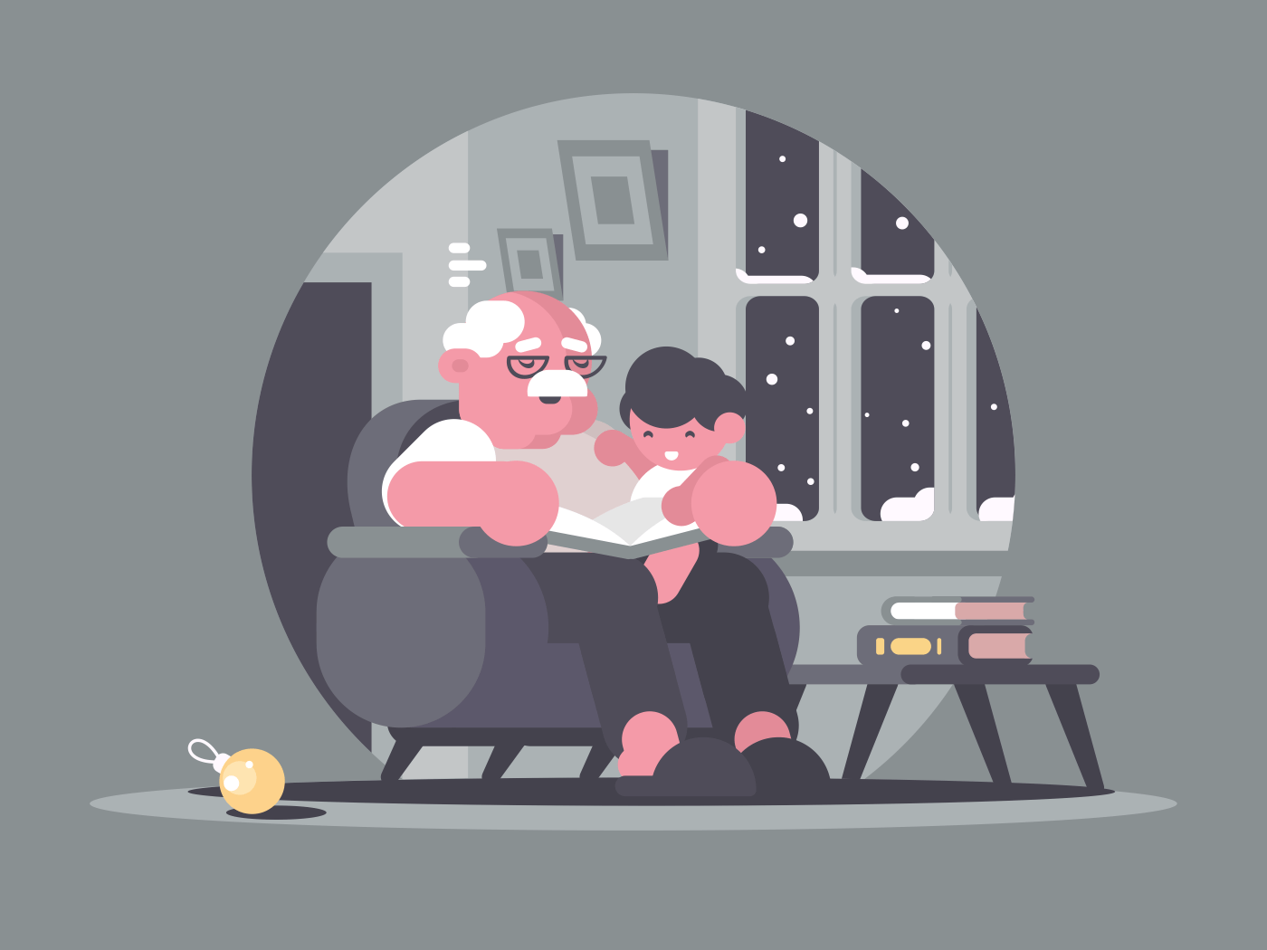 Grandfather and grandson sitting in chair and reading book. Vector illustration