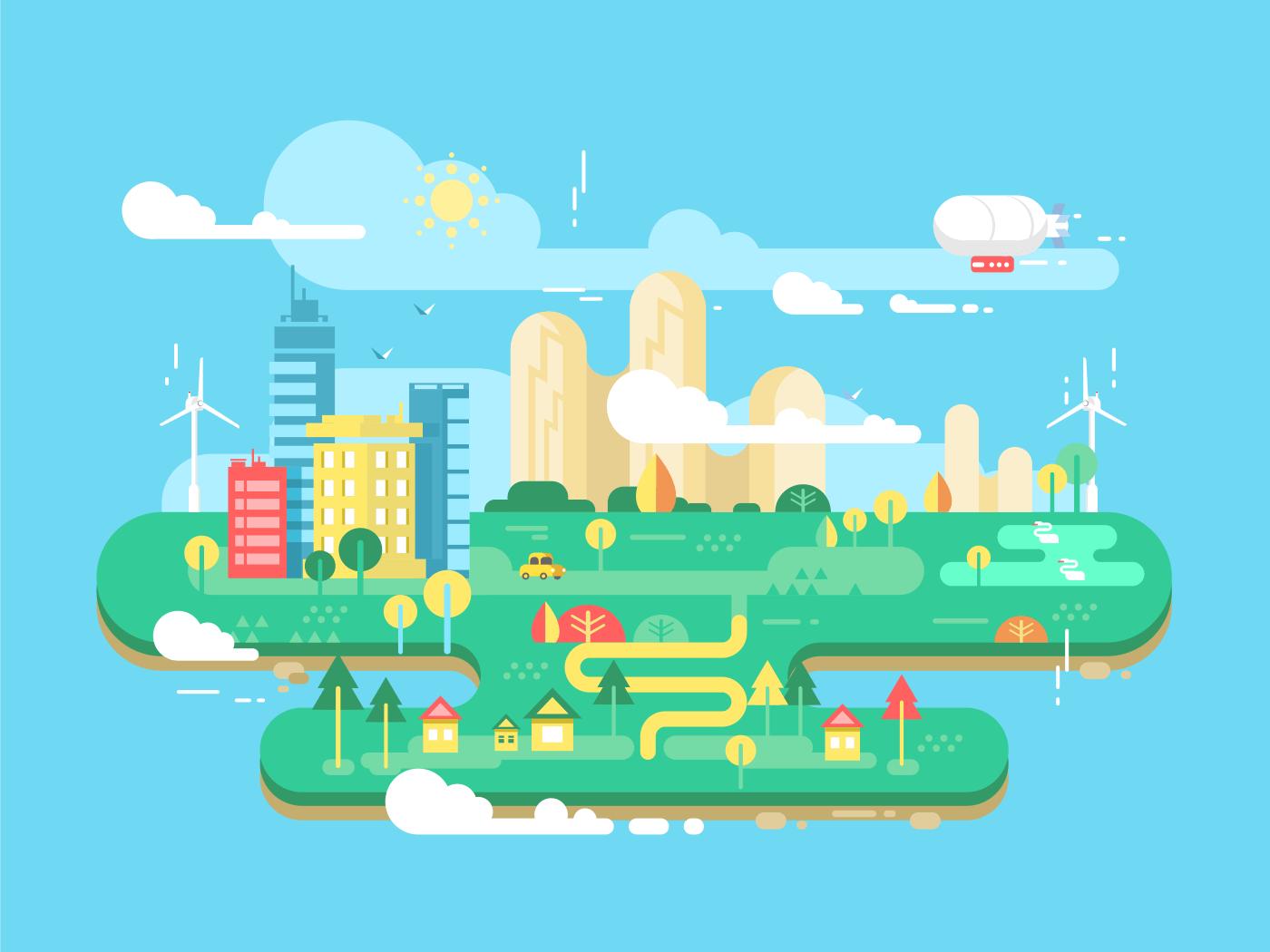 Green city flat vector illustration