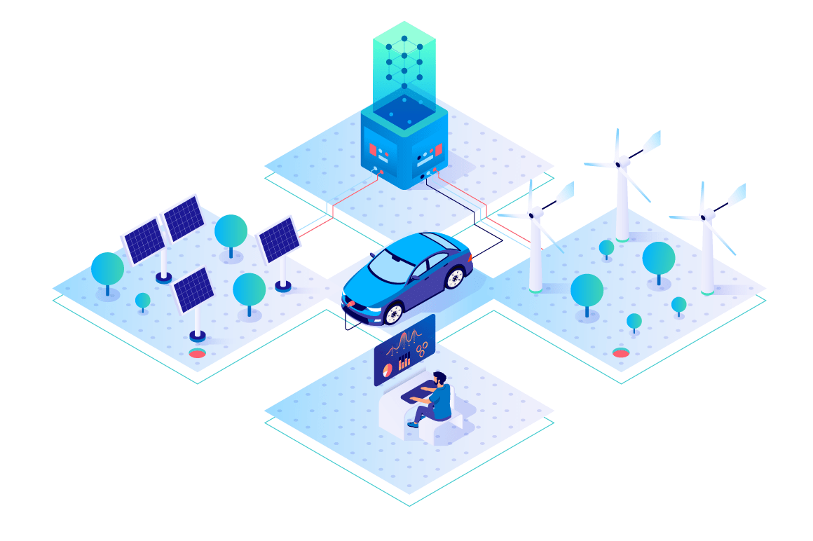 3d isometric car, businessman with green energy.