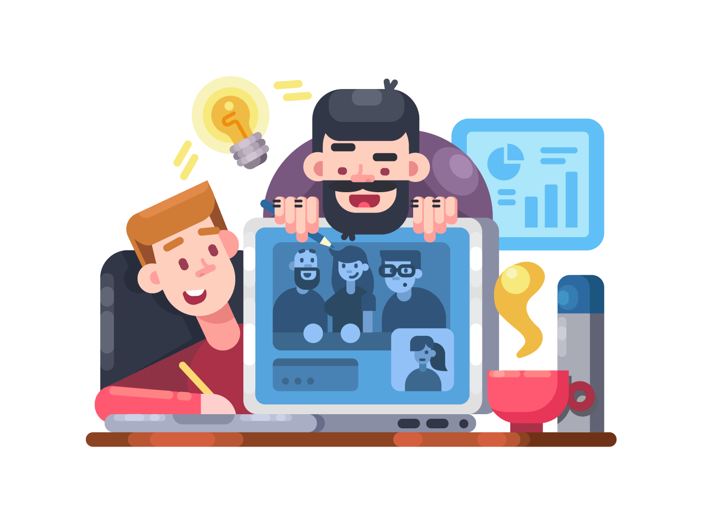 Web conference team illustration
