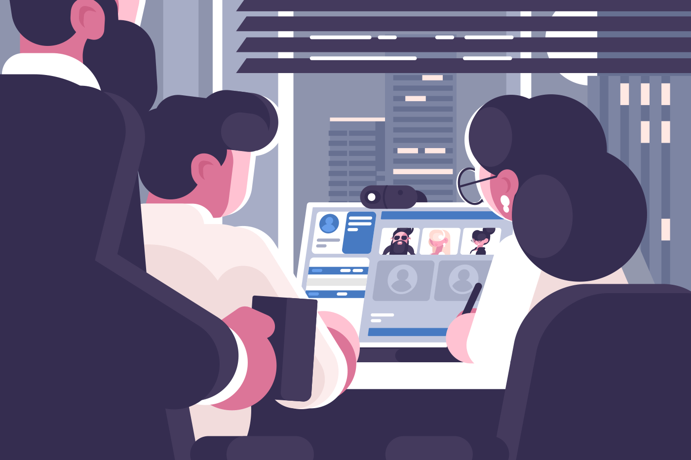 Office workers group video chat. Online communication concept. Web conference virtual discussion. Flat style. Business meeting webinar. Horizontal vector illustration.